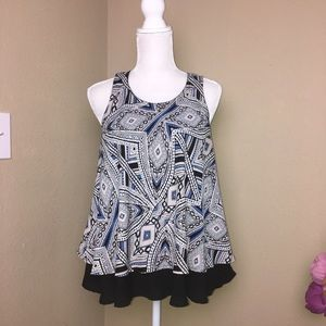 Mossimo print blouse with raffle hem, Size L